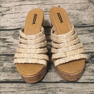 Soda Weave Wedge Sandals